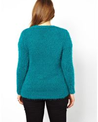 Elle Macpherson Green Asos Curve Exclusive Fluffy Sweater with Vneck