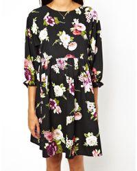 ASOS Black Smock Dress In Winter Floral