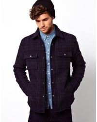 ASOS Blue Wool Checked Over Shirt for men