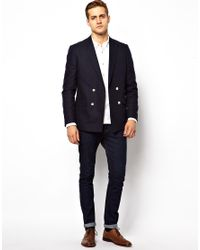 ASOS Black Slim Fit Double Breasted Blazer with White Buttons for men