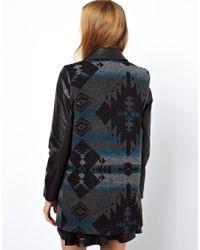 ASOS Gray Aztec Coat with Pu Sleeve