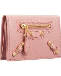 Balenciaga Pink Arena Giant Gold Double Card Holder