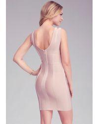 Bebe Pink Chevron Stripe Bandage Dress