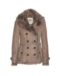 Burberry Brown Shearling lined Suede Jacket