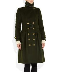 Burberry - Green Wool and Cashmere Blend Trench Coat - Lyst