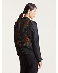 By Walid Black Womens Silk Fur Kimono Jacket