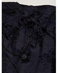 By Walid Blue Womens Silk Fur Kimono Jacket