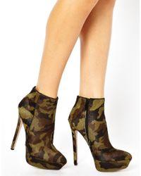 Carvela Kurt Geiger Green Geisha Camouflage Pony Effect Heeled Boots