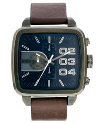 DIESEL Brown Square Franchise Watch Leather Strap for men