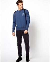 Edwin Blue Sweatshirt Crew Neck College for men