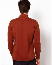 Edwin Red Shirt Loggerhead Heavy Cotton Twill for men