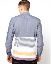 Fred Perry Blue Horizontal Hem Shirt for men