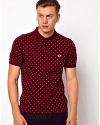 Fred Perry Red Polka Dot Print Polo Shirt for men