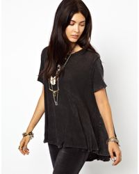 Free People Black Circle Tshirt in Linen Cotton Mix