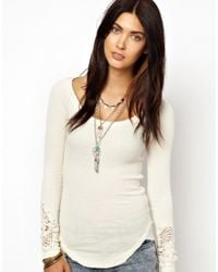 Free People White Newbie Thermal Top with Crochet Cuff Detail