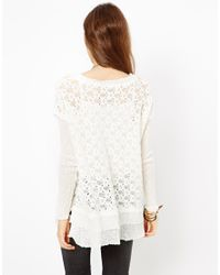 Free People White Boxy Textured Jumper with Frill Hem