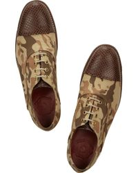 Foot The Coacher Brown Eliza Leather-trimmed Camoprint Canvas Oxford Shoes