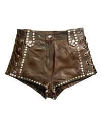 H&M Green Leather Shorts