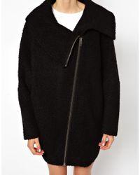 Just Female Black Wool Zip Coat