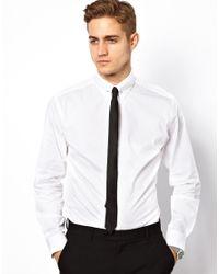 Lambretta White Shirt with Collar Bar for men