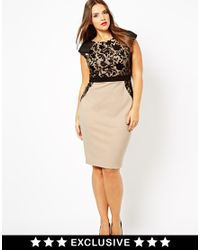 Little Mistress Black Pencil Dress with Sequin Lace Overlay