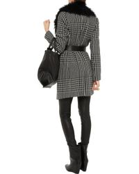MICHAEL Michael Kors Black Shearling collar Houndstooth Coat