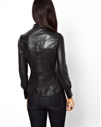Muubaa Black Muubaa Azana Leather Shirt with Tipped Collar