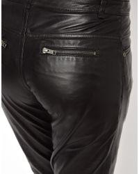 Muubaa Black Kirin Leather Trousers with Ankle Zips