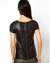 Muubaa Nemida Leather T Shirt in Black