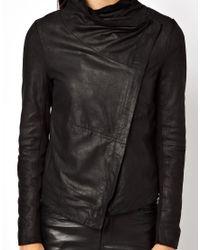 Muubaa Black Sonia Lambs Leather Waterfall Jacket