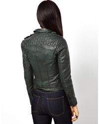 Muubaa Green Nido Goats Leather Jacket with Quilted Shoulders