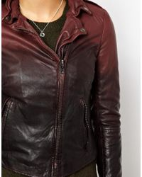 Muubaa Red Ombre Dip Dye Lambs Leather Jacket