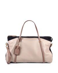 Nina Ricci Natural Leather Suede Ballet Bag