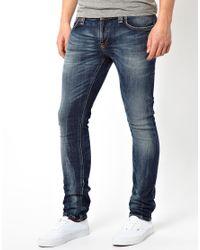 Nudie Jeans Tight Long John Skinny Fit Organic Gray Blues for men
