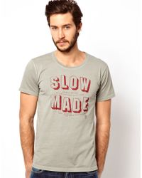 Nudie Jeans Gray Tshirt Slow Made Logo Organic Cotton for men