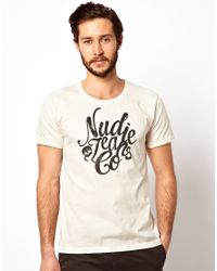 Nudie Jeans Natural Tshirt with Script Logo Organic Cotton for men
