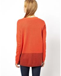 NW3 by Hobbs Orange Oversized Cardigan in Contrast Knit