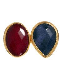 ASOS - Metallic Ottoman Hands Two Stone Horizontal Ring - Lyst