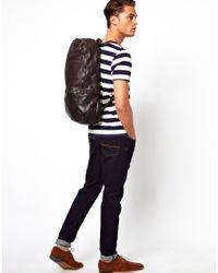 ASOS Black Royal Republiq Leather Sack Backpack for men