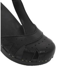 Swedish Hasbeens Black 374 Antique Heeled Sandals