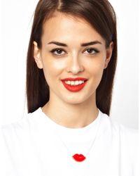 Tatty Devine | Red Avant Garde Robot Lips Necklace | Lyst