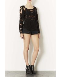 TOPSHOP Black Lace Top By Navy