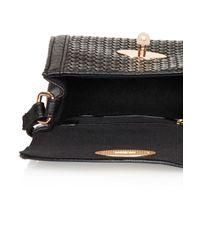 TOPSHOP Black Woven Mini Crossbody Bag