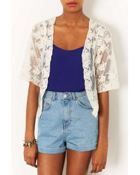 TOPSHOP White Lace Jacket By Navy