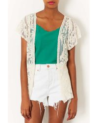 TOPSHOP White Lace Waistcoat By Navy