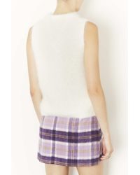 TOPSHOP White Knitted Fluffy Sleeveless Top