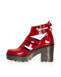 TOPSHOP Red Apache Patent Cut Out Boots