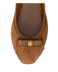 Tory Burch Brown Suede Ally Bow Ballet Flat