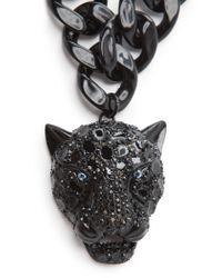 Mango - Black Rhinestone Panther Necklace - Lyst