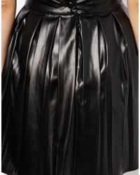 ASOS Green Exclusive Pleated Skater Skirt in Faux Leather